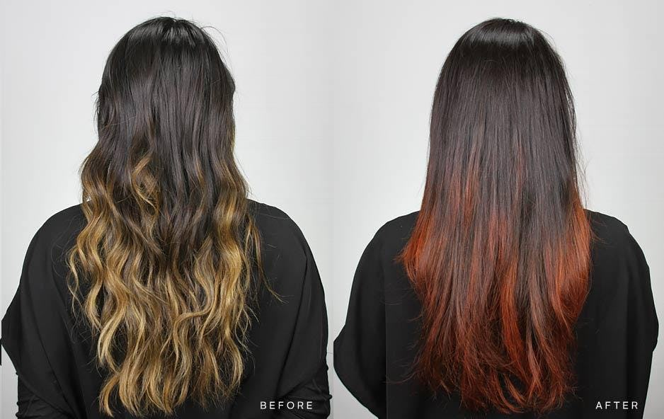 Before and After Ombre Hair Color, Blonde to Red