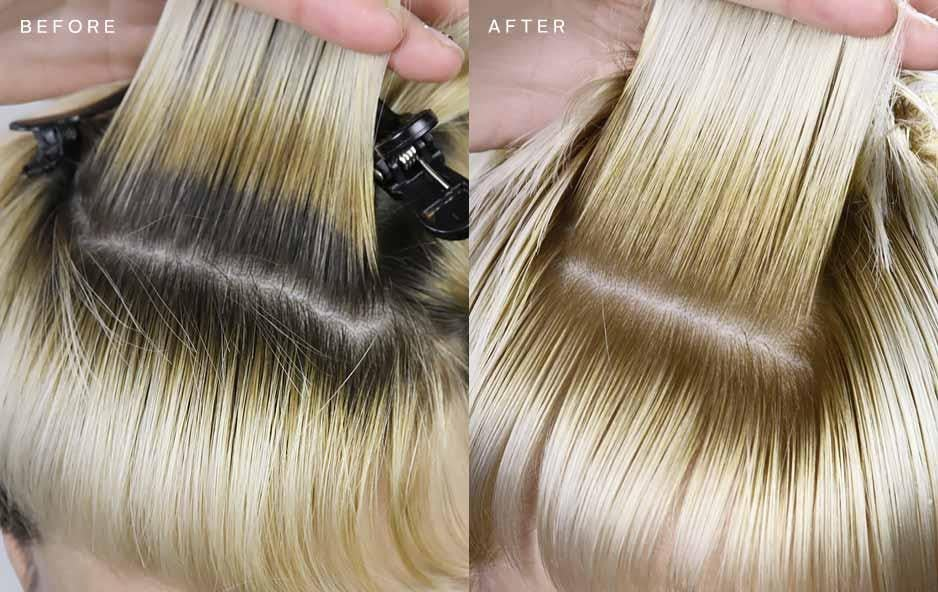level 6 medium brown to a level 9 blonde, brown roots to blonde