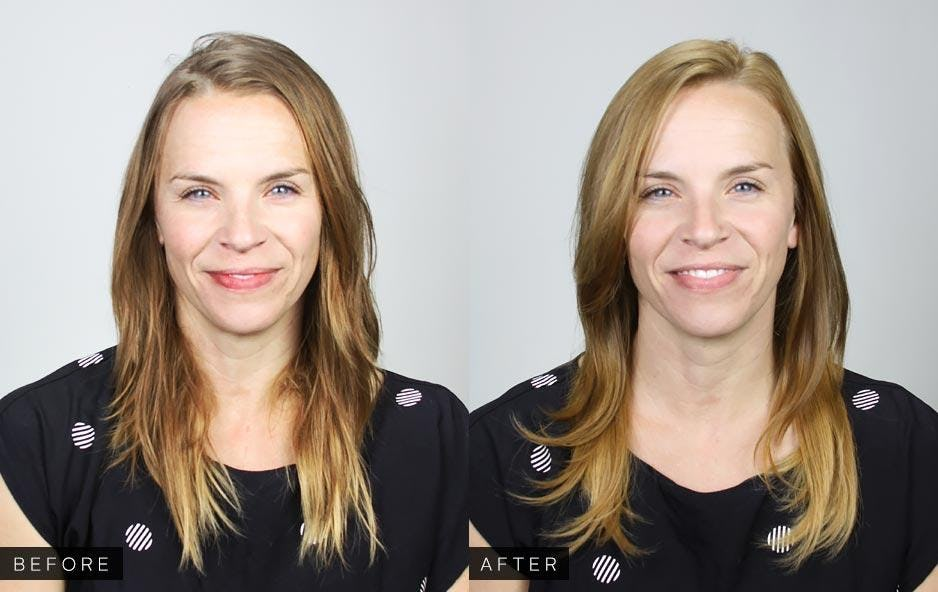 Before and After hair photo - brown to lighter blonde hair