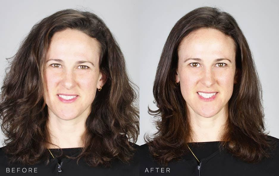 Level 6 Medium Brown Before and After Hair Color to new Sun Kissed Brunette