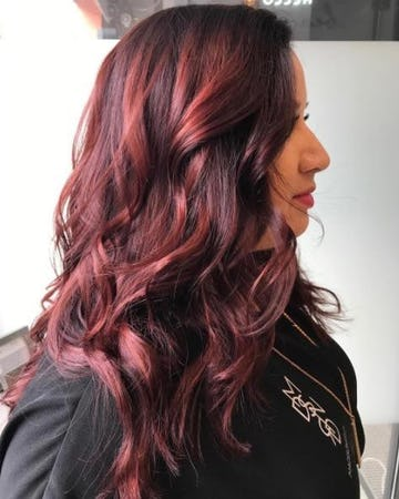 trieste red hair color with barolo hair gloss