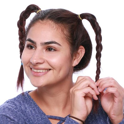 Braid each ponytail and secure with a hair band