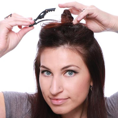 clip up the top section of hair
