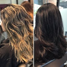Hair coloring results on wavy hair and straight hair