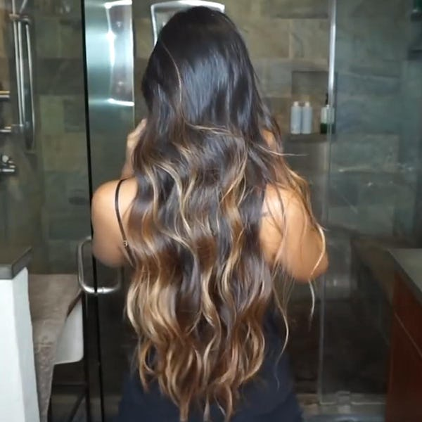 Jenny Dey with toffee balayage hightlights