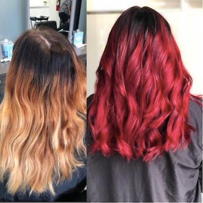 woman with hair color before and after
