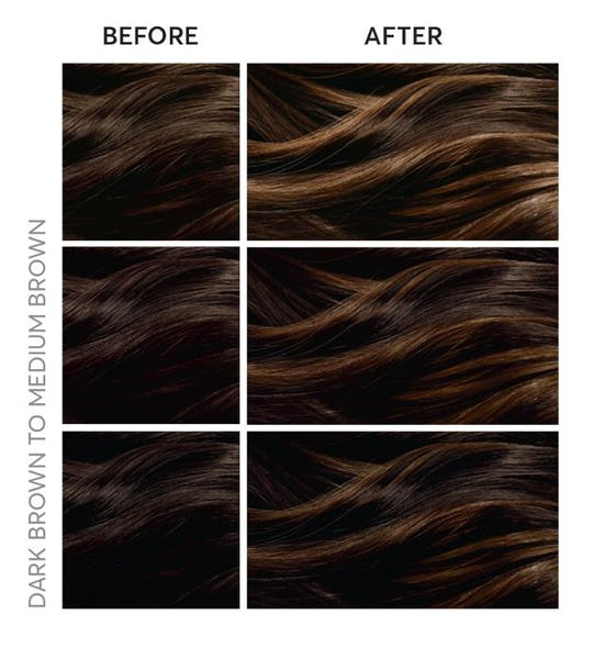 Dark brown hair to medium brown hair with highlights