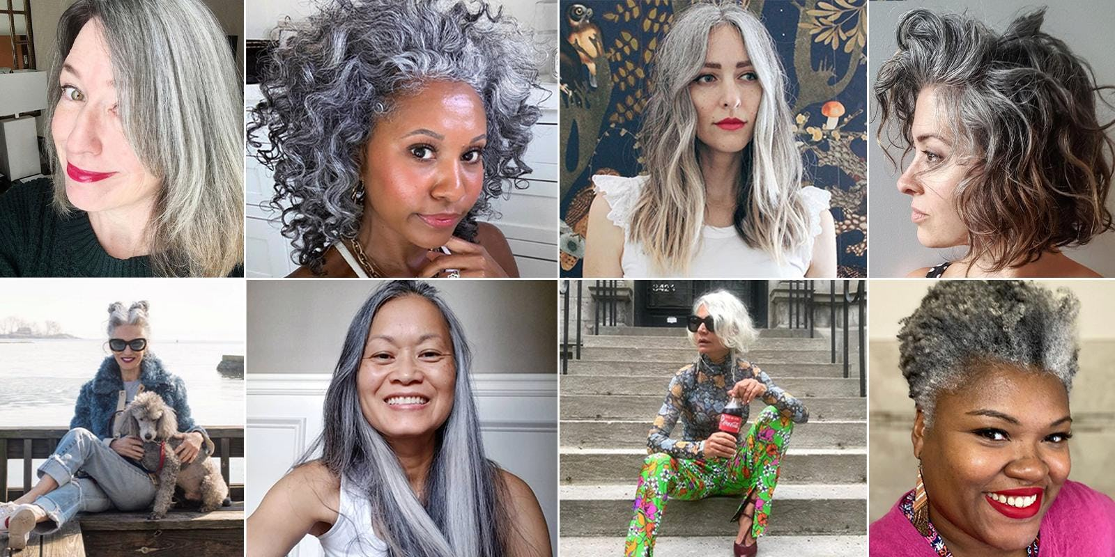 Collage of beautiful women with gray hair