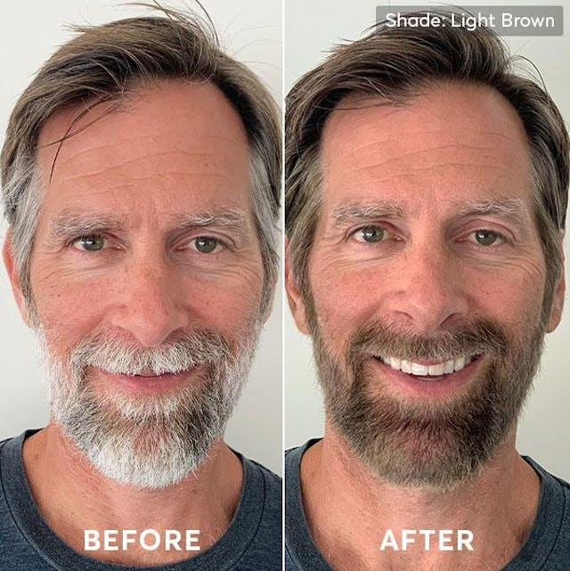 Before and after photo of men's hair color and beard dye light brown 1