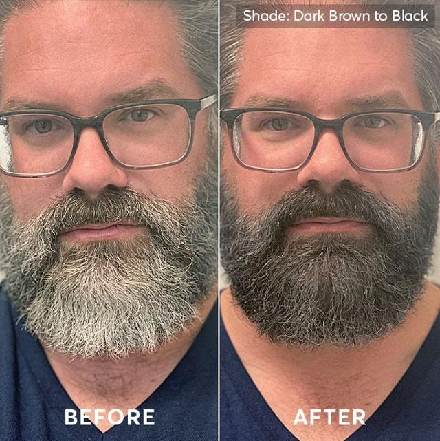 Before and after photo of men's hair color and beard dye dark brown to black 2