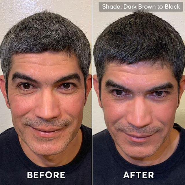 Before and after photo of men's hair color and beard dye dark brown to black 3