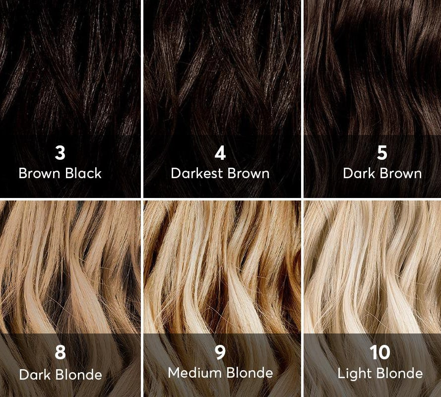 Hair Level Chart 2-10 Levels displayed with hair samples
